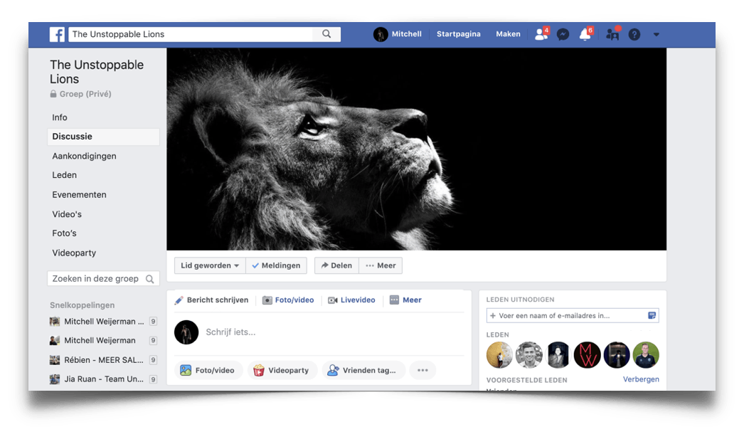 Unstoppable lions Facebook groep